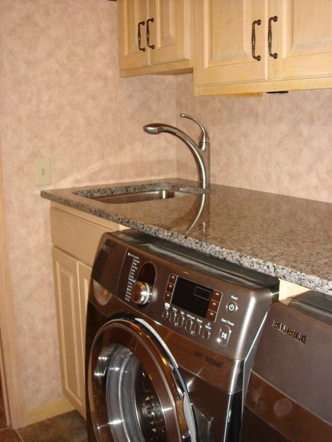 Laundry Sink Countertop : We installed a textured tile drop down ceiling with recessed lighting.
